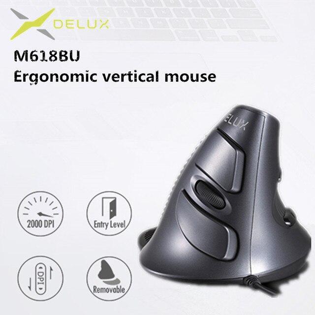 Delux ratón ergonómico Vertical M618 BU, 6 botones, 800/1200/1600 DPI, derecho, óptico, con almohadilla para muñeca para PC y portátil