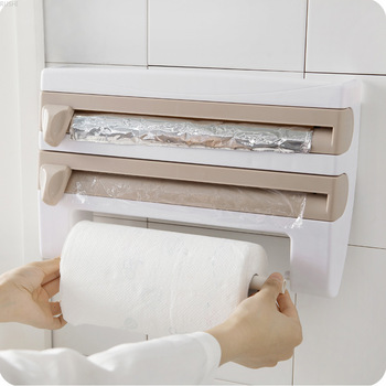 Plastic Storage Shelf | Kitchen Plastic Wrap Storage Rack Knife Bar  Aluminum Foil Barbecue Paper Commodity Shelf  Tissue Holder Accept Commodity Shelf