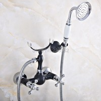 Black & Chrome Brass Wall Mounted Clawfoot Bath Tub Faucet w/ Handheld Shower lna017