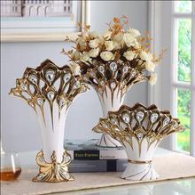 Creative vase three-piece set of european-style living room decoration ceramics