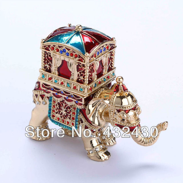 Keyeast Asia The elephant and house diamond jewelry box enamel
