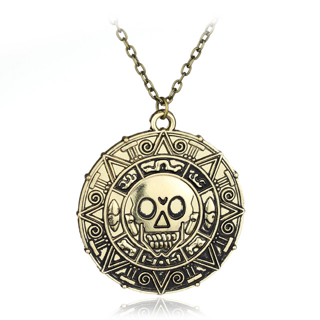 Online shop statement necklaces pirates of the caribbean aztec statement necklaces pirates of the caribbean aztec coin medallion necklaces pendants skull coin necklace jewelry free shipping mozeypictures Images