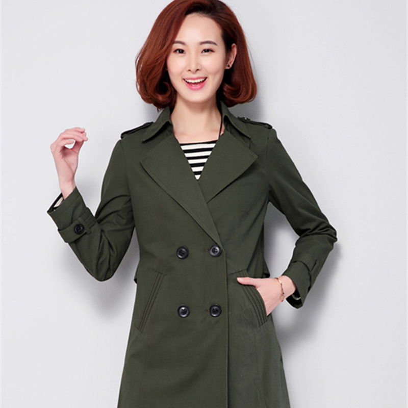 6b3c4894241 100% cotton trench coat women middle age plus size M 4XL windbreaker double  breasted fashion spring new 2018 style female coats-in Trench from Women s  ...
