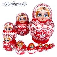 Abbyfrank 10 Pçs/set Babushka Bonecas Do Assentamento Do Russo de Matryoshka Bonecas Étnicas Tradicionais Trança Menina Pintura À Mão Presentes Brinquedos Para O Bebê