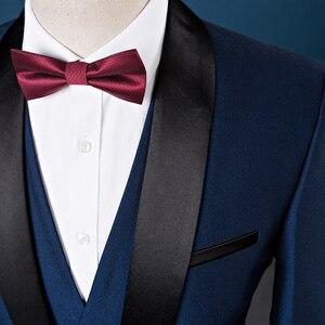 Image 5 - Plyesxale גברים חליפת 2018 חתונה חליפות גברים צעיף צווארון 3 חתיכות Slim Fit בורדו חליפת Mens רויאל כחול טוקסידו מעיל Q83