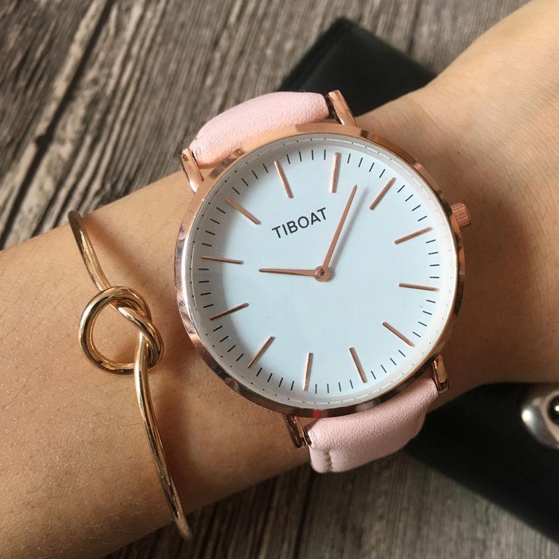 TIBOAT 2018 Moda Verão Das Mulheres Pulseira de Couro Relógios de Luxo Da Marca Das Senhoras Vestido de Quartzo relógios de Pulso À Prova D' Água