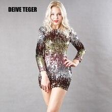 DEIVE TEGER O-Neck Twinkle Sequined Bandage Autumn Spring Club Dress  vestidos c52c0634236f