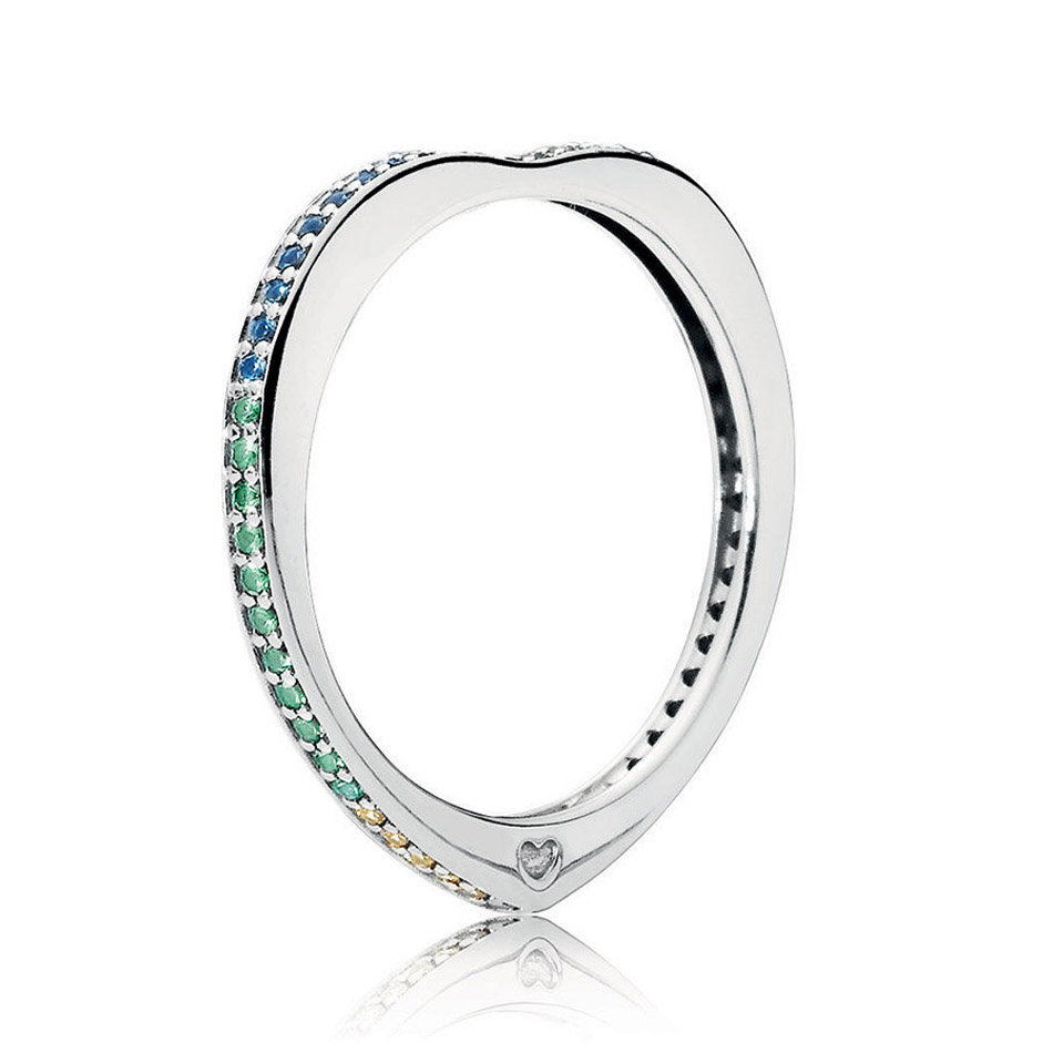 30% Silver Ring Multi-Colored Arc of Love Ring for Women Pave Girl Finger anel Multi-Colored CZ fit Lady Jewelry