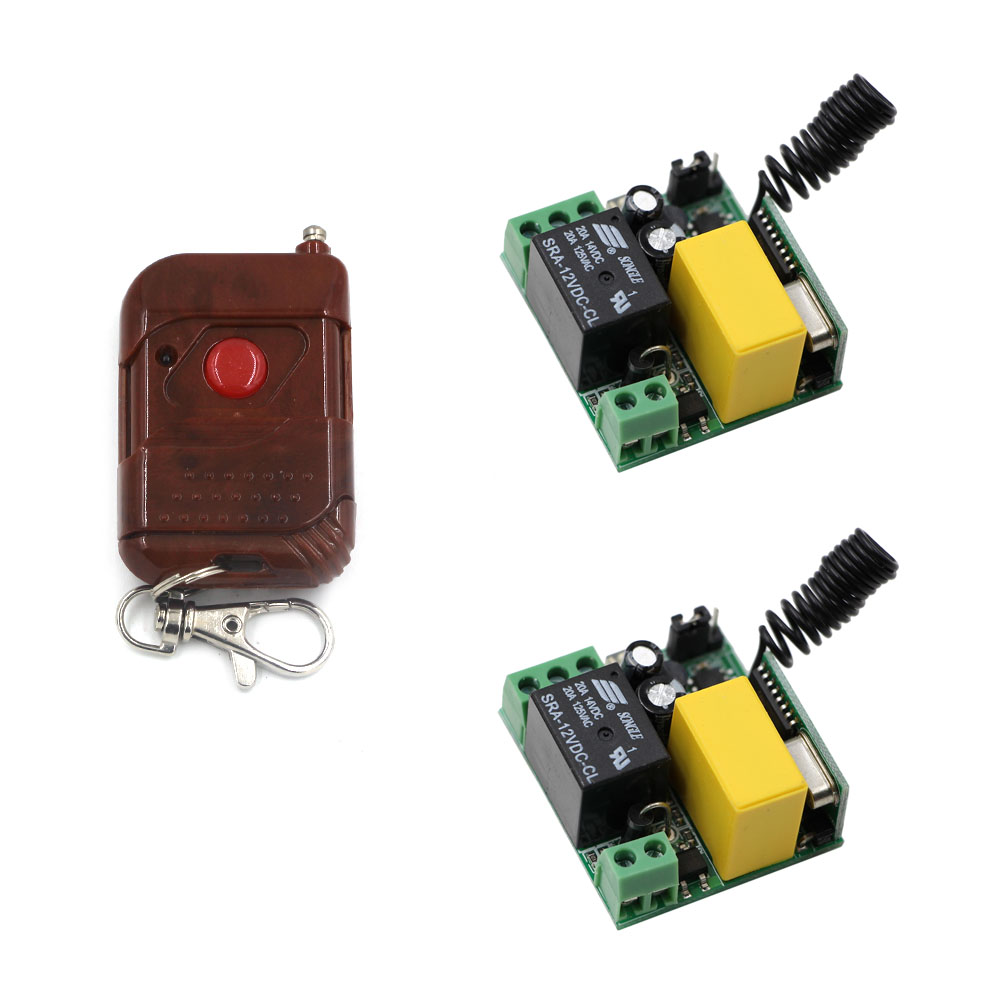 1CH 220V 433M Wireless RF Relay Switch With 2-Key Black Remote Controller