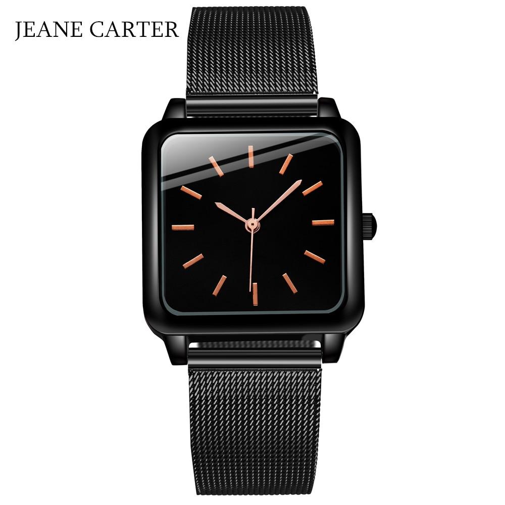 Drop Shipping Fashion Ladies Bracelet Waches Full Steel Mesh Square Dial Wrist Watch For Women Female Quartz Clock Montre Femme