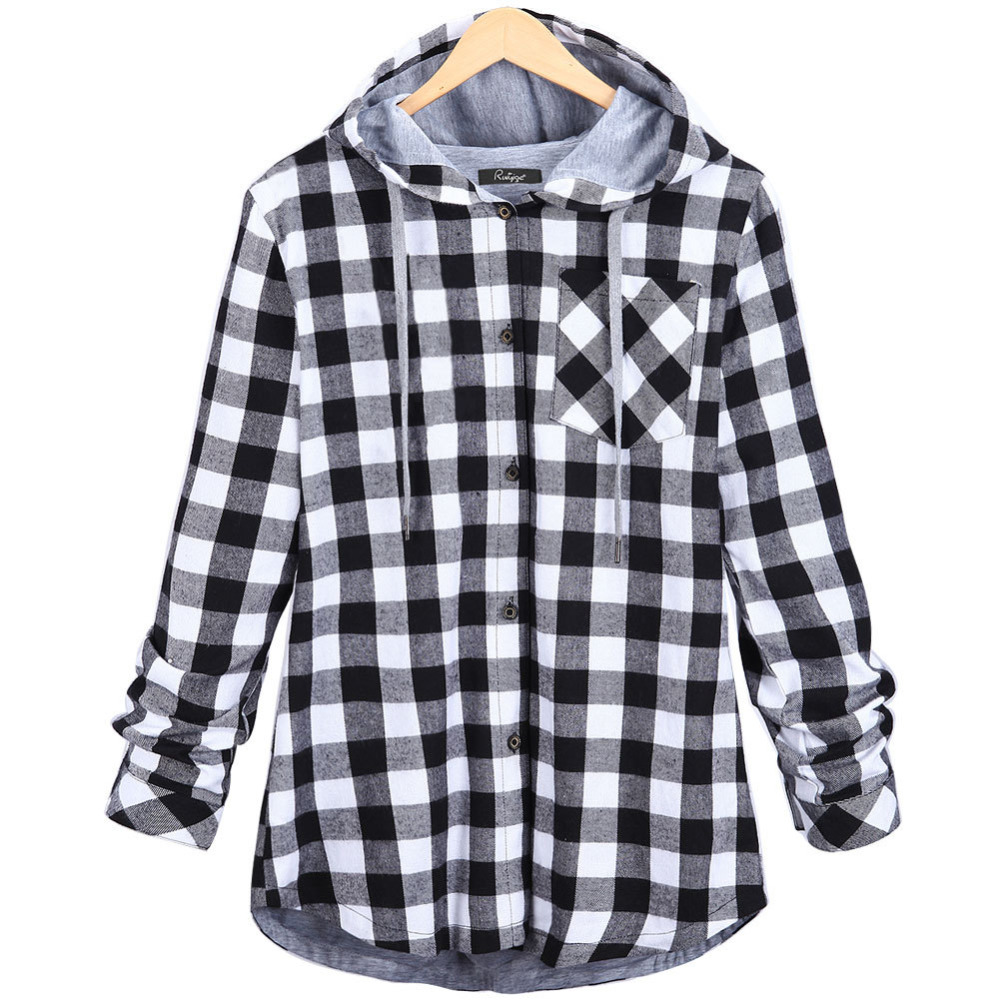 2016 fashion women hoodies cotton autumn winter coat long sleeve plaid cotton hoodies casual. Black Bedroom Furniture Sets. Home Design Ideas