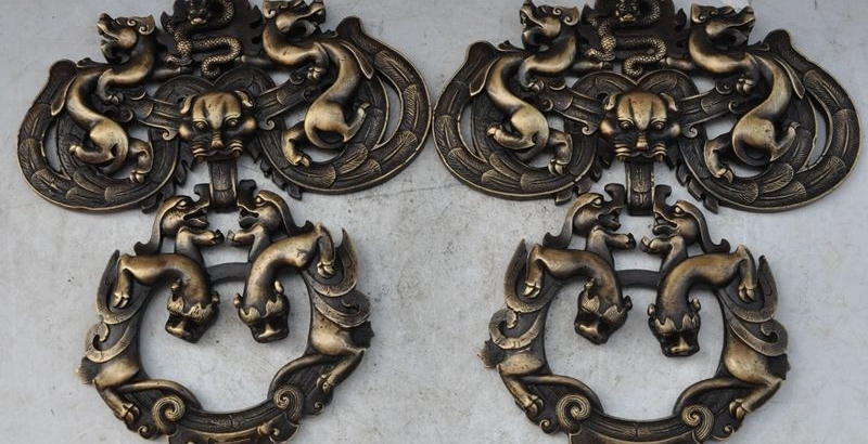old china bronze Evil Guardian Fu Foo Dog Lions pixiu dragon Door buckle Knocker