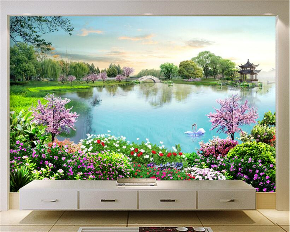 US $8 85 OFF Beibehang Custom High Level Decorative Painting Personalized Wallpaper Beautiful Lake Tourist Scenic Spot Wall 3d Wallpaper 3d