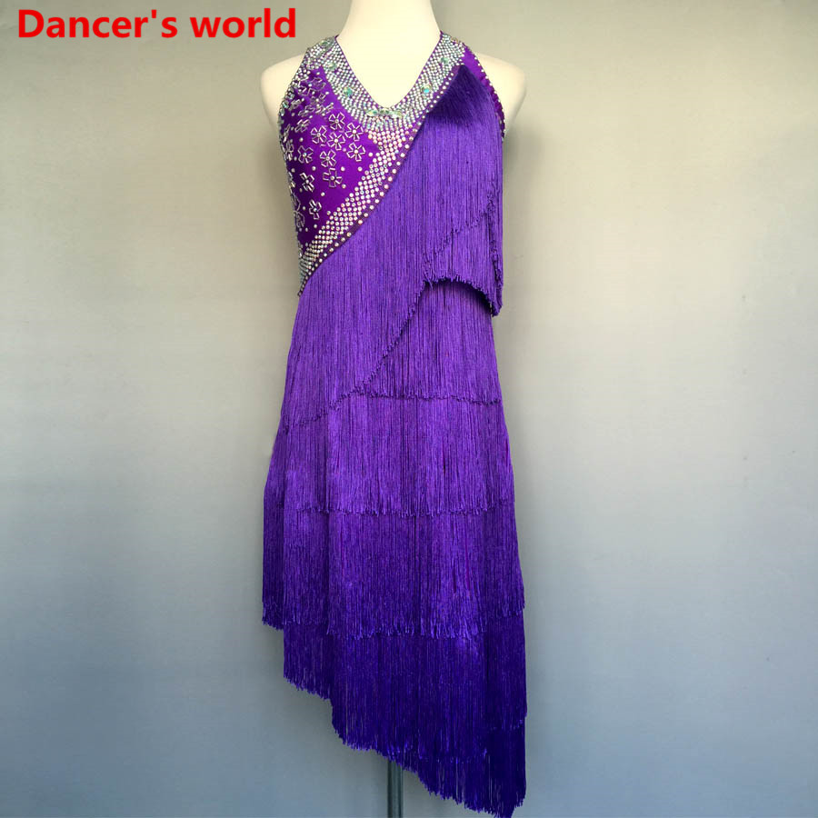 Personnalisable couleurs gland Latin danse robe femmes danse robe Latino femmes Costumes pour danse femmes latine danse robe Salsa