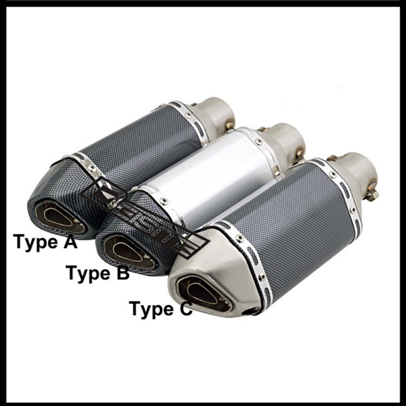 Inlet 51mm Motorcycle Akrapovic Exhaust Muffler Motorbike Mini Small Hexagon Exhaust Muffler Escape with DB Killer