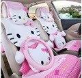 14 unids Hello Kitty Fundas de Asiento de Coche de Dibujos Animados Fundas de Asiento de Coche Universal para Todas Las Estaciones Accesorios interiores del coche de dirección + rueda