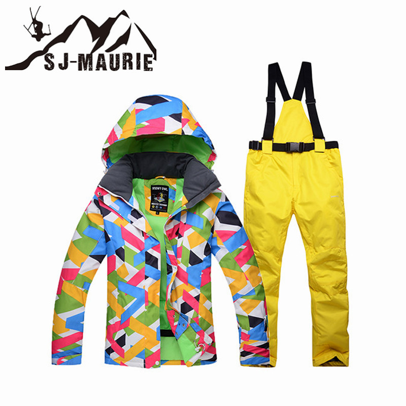 Sj-maurie combinaison de neige veste de Ski pantalon femmes hiver imperméable coupe-vent Snowboard costume ensemble extérieur randonnée manteau épais