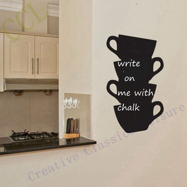 Free Shipping Kitchen Wall Stickers Coffee Home Decor Kitchen Chalkboard Cups Blackboard Vinyl Wall