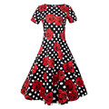 2016 Autumn Sexy Women's Vintage Floral Rockabilly Tutu Pinup Short Sleeve Bodycon Evening Party Clubwear Formal Dress Plus Size