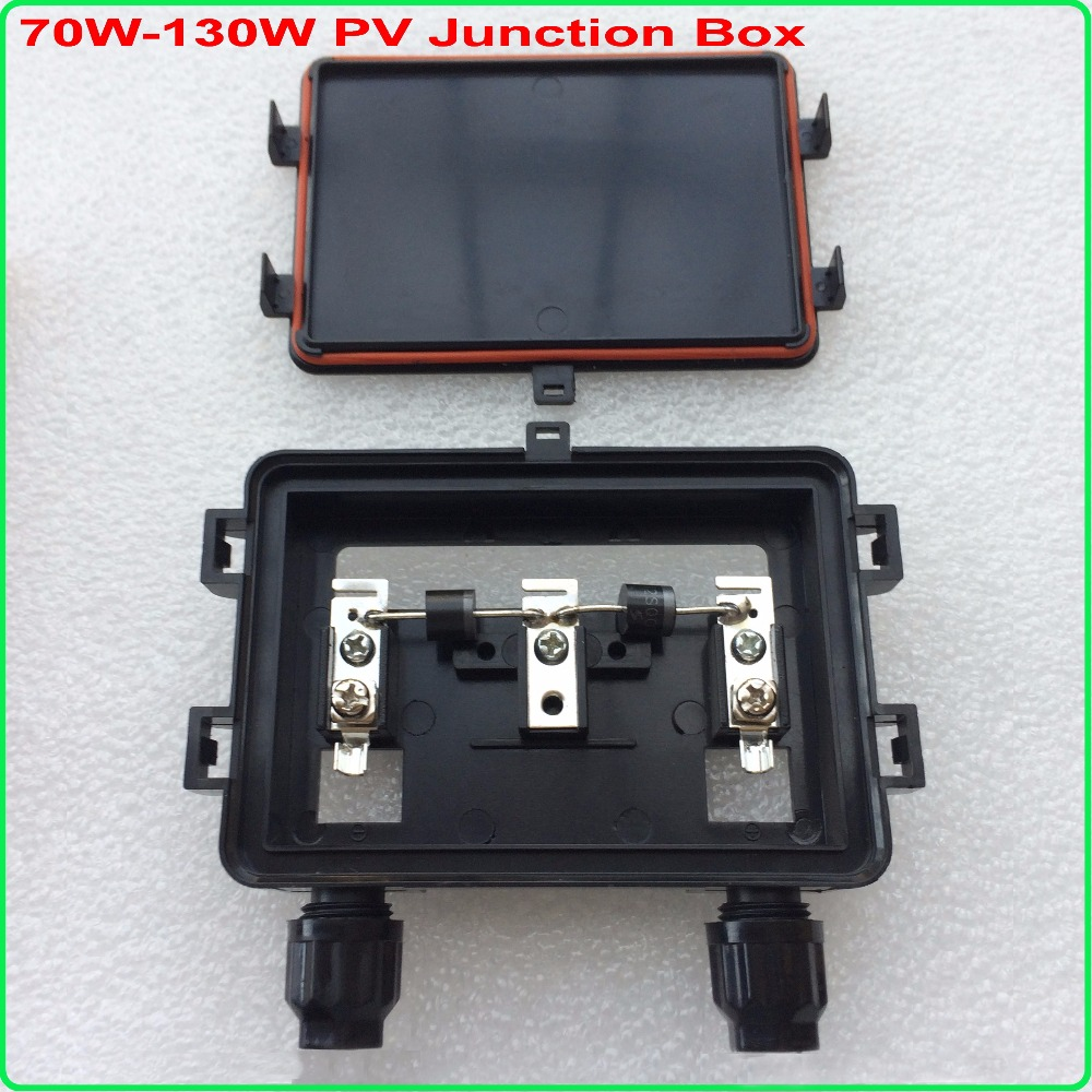 5pcs/Lot Wholesale 70W-130W Solar Panel Junction Box Connector with 2 Diode (12A,45V) , IP65 Waterproof,130W Junction Box