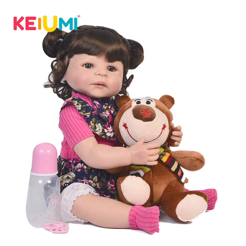 22 pouces bébé poupée tout Silicone corps réaliste nouveau né poupée porter Rose robe mode vivant Reborn bébé poupée pour fille cadeau d'anniversaire-in Poupées from Jeux et loisirs    1