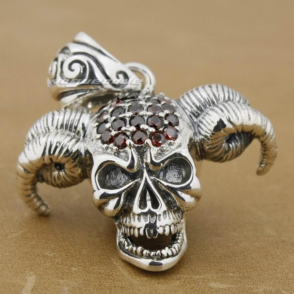 925 Sterling Silver Devil Goat Skull Red Cubic Zirconia Head Pendant 8P014 цена