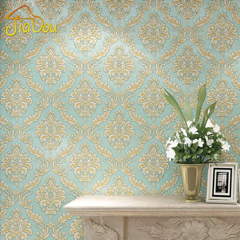 European Luxury Damask Wallpaper Blue 3D Stereoscopic Embossed Damascus Thick Non-woven Wallpaper Bedroom Living Room Wall Decor