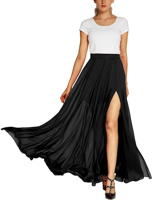 1b8068fe4b4ee Customize Women s Fashion Solid Color Flowy Split Long Maxi Skirt Ladies  Plus Size A-Line Skirts