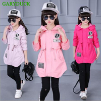 Children Trench Coat Girls Baby Outwear Spring Autumn Teen Girls Windbreaker Jacket Teenager Child Clothes Plus