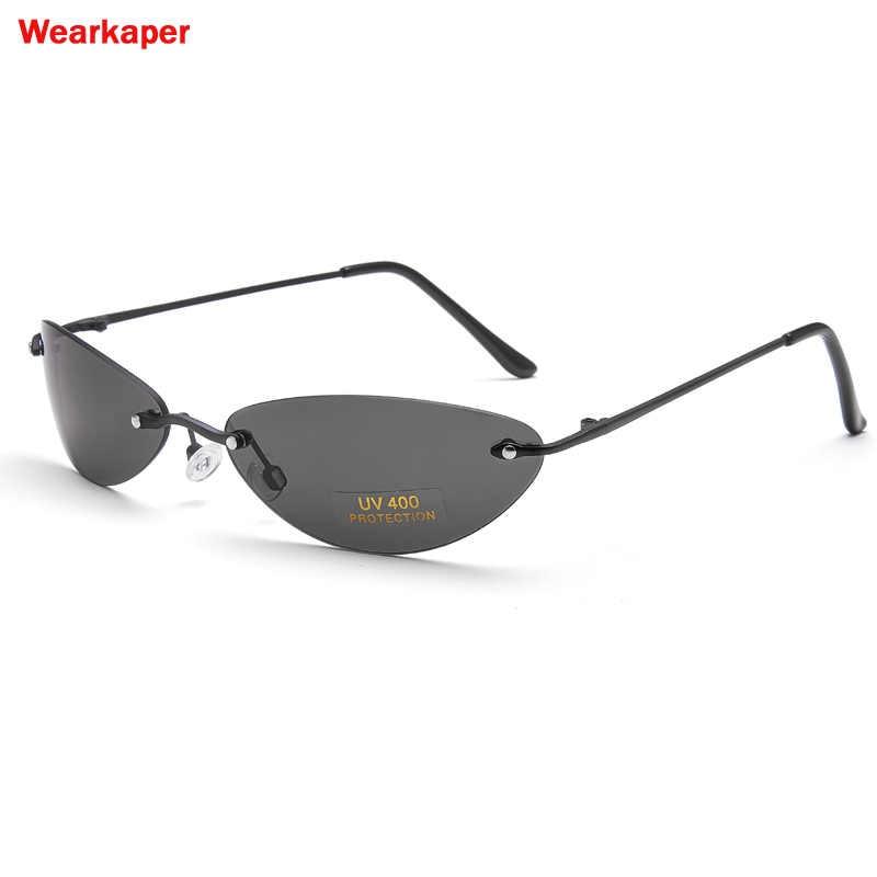 89808c7142 WEARKAPER Polarized Matrix Morpheus Sunglasses Steampunk Movie Eyewear men  Rimless Classic Oval glasses Oculos Gafas De