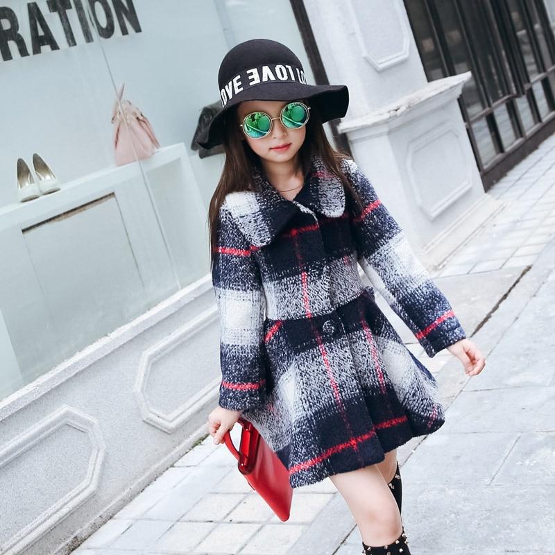 ФОТО Children's Clothing Korean Autumn Winter Girls Plaid Trench Coat Kids Clothing White Red Green Wool
