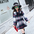 Children's Clothing Korean Autumn Winter Girls Plaid Trench Coat Kids Clothing White Red Green Wool