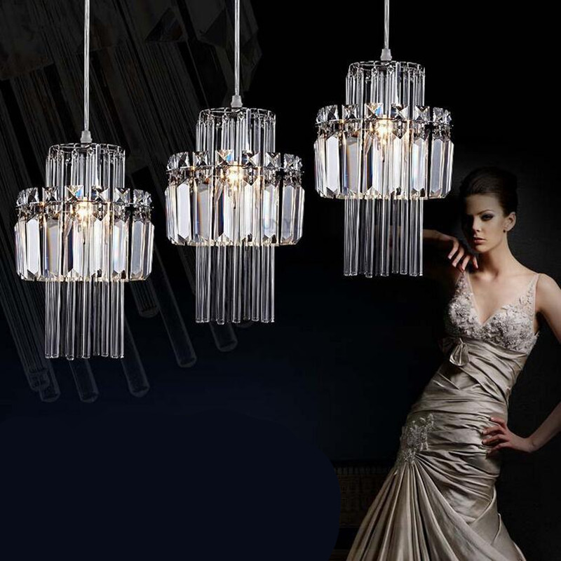 Modern Creative Luxurious Fashion K9 Crystal Led E14 Pendant Light for Dining Room Living Room 1/3 heads AC 80-265V 1357 modern fashion luxurious rectangle k9 crystal led e14 e12 6 heads pendant light for living room dining room bar deco 2239