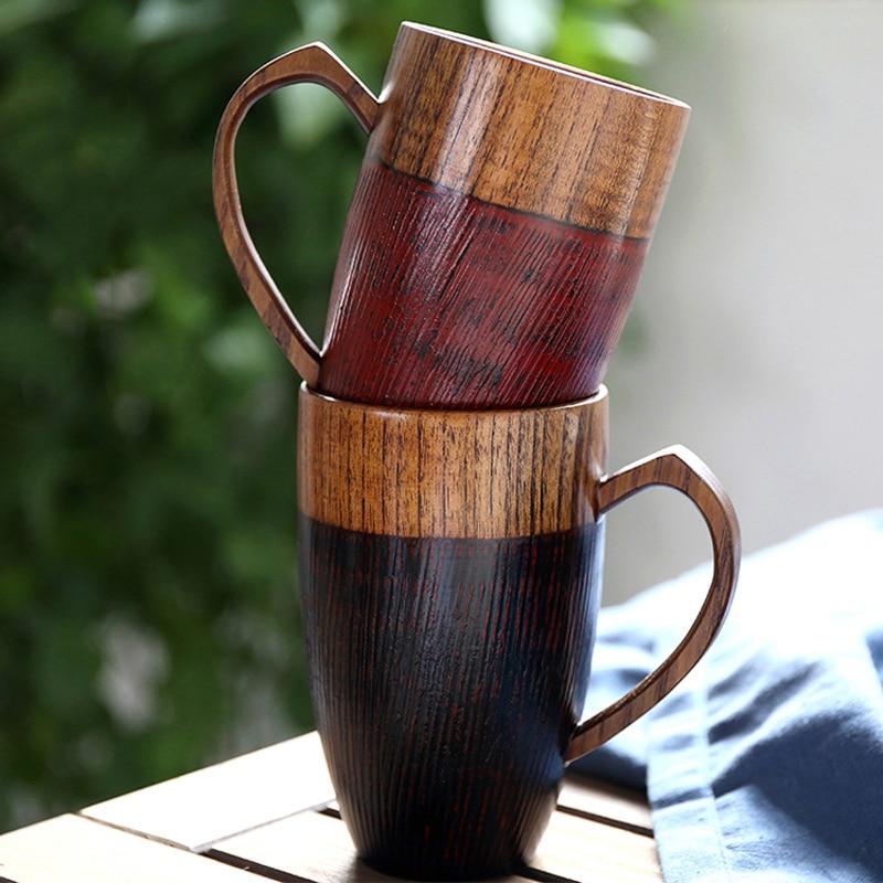 2Pcs Creative Couple Mugs Wood Coffee Tea Mug Set Drinkware Handcraft Wood Tea Cup Couples Coffee Mugs Lovers Valentine Gifts