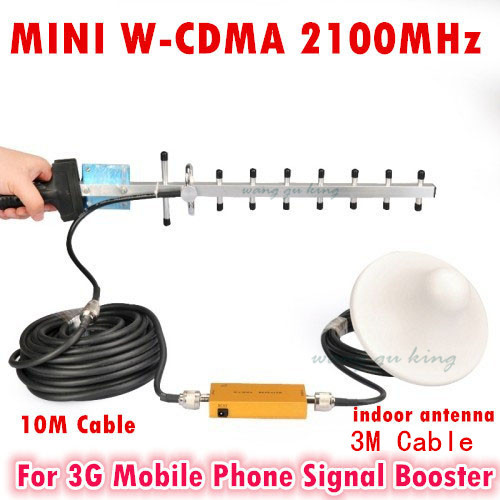 3G Signal Repeater W CDMA 2100Mhz 3G Repeater Mobile Phone 3G Booster HSPDA Amplifier Yagi Antenna Set