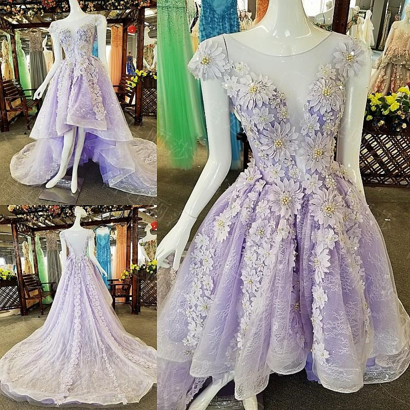 High quality 3D lace & flowers high low short sleeves lilac prom-dresses lace_ net tulle side ribbons deep illusion neck