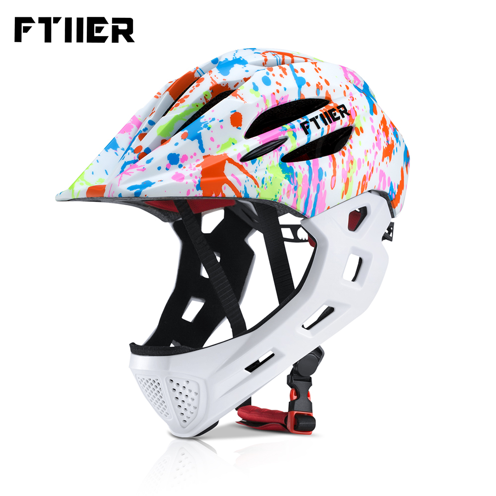 Ftiier Kid LED Mountain Mtb Road Bicycle Helmet Detachable Pro Protection Children Full Face Bike Cycling Helmet Cascos Ciclismo image