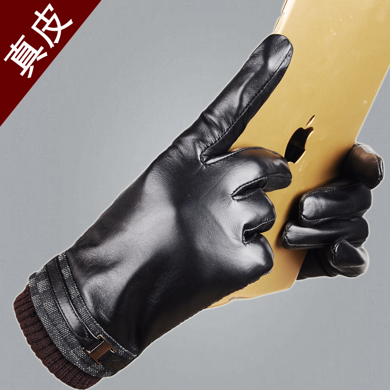 Men's leather gloves touchscreen Korean fashion autumn and winter plus velvet warm sheepskin car simplicity wholesale 2pr set knitted touchscreen gloves