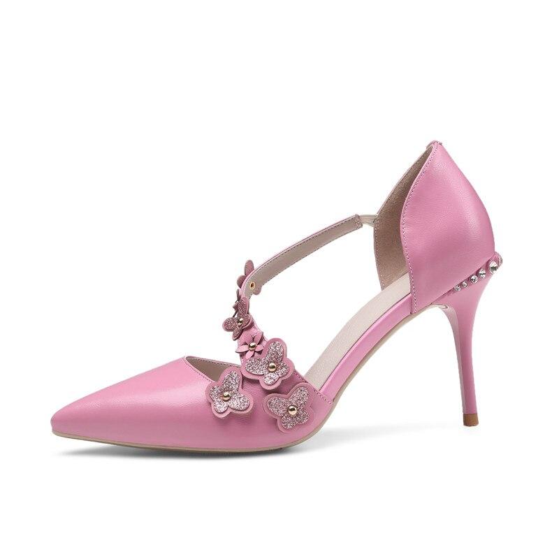 40 Partie Courroie Doux Cuir Hauts Dames Chaussures Beige Mouton Femmes De Boucle Mince Size34 Grand Karinluna rose Talons Fleur En Véritable Pompes Peau wEqxUIPHtz