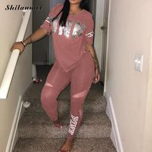 Pink Letter Print Tracksuits Women Two Piece Set 2018 Spring Plus Size T-Shirt