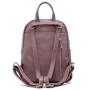 Image 4 - Zency mochilas de couro genuíno feminino senhoras moda sacos de viagem femal diário feriado mochila estilo preppy da menina