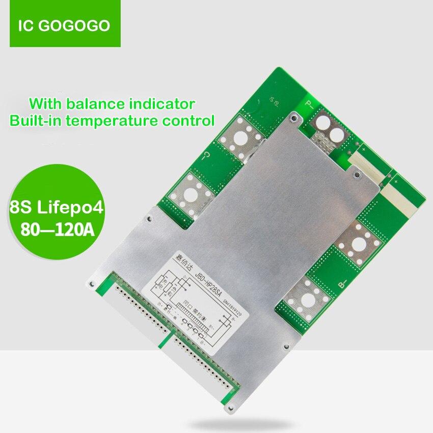 8S 24V Lifepo4 Battery Protection Board 60A 80A 100A 120A 3 2V Packs BMS Balance Indicator