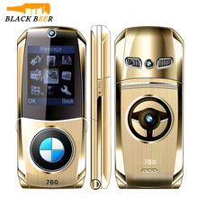 Mosthinkw760 شكل سيارة الوجه الهاتف المحمول حجم صغير 2G GSM هاتف محمول بطاقات SIM المزدوجة كبار السن الهاتف لوحة مفاتيح روسية رخيصة