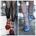 Designer Shoes Women Luxury 2017 Round Toe Ankle Buckle High Heels Python Chunky Heel Ladies Pumps Rhinestone Sexy Strappy Shoes