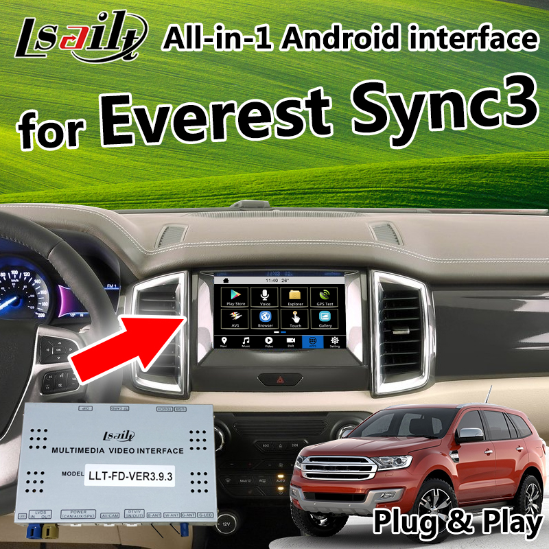 Plug&Play car GPS Android Navigation Video Interface for Ford Everest Sync3 All in 1 integration camera interface & Auto Play