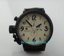 50mm PARNIS cadran Blanc mouvement à quartz Japonais Chronographe multifonction montre Automatique Date de pvd hommes montres À Quartz SY11
