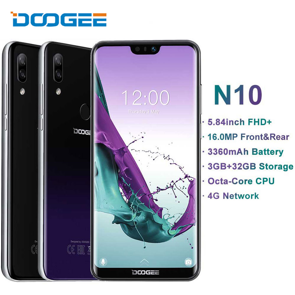 New DOOGEE N10 mobile Phone 3GB RAM 32GB ROM 3360mAh Android 8 1 16 0MP Front