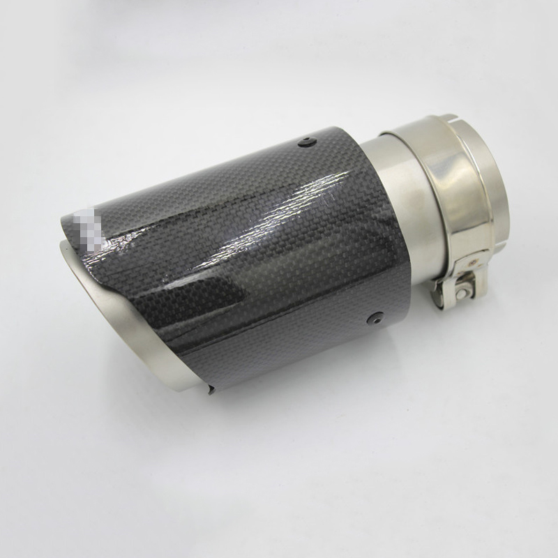 Universal Carbon Fiber Car Exhaust Pipe Muffler End Tip 63mm IN 89mm OUT Durable Round Silencer System in Exhaust Exhaust Systems from Automobiles Motorcycles