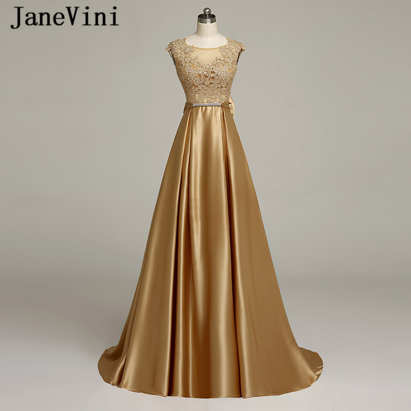 JaneVini Vestidos Gold Evening Dress 2018 A Line Lace Appliques Big Bow Back Beaded Satin Mother
