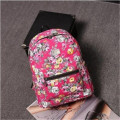Hot Sale Retro Rose Floral Printing Backpack Women's Canvas Travel Backpack for Teenage Girls Rucksack High Quality School Bags